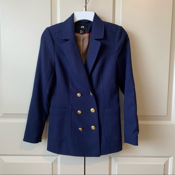 H&M | Nautical Double Breasted Navy Blue Blazer